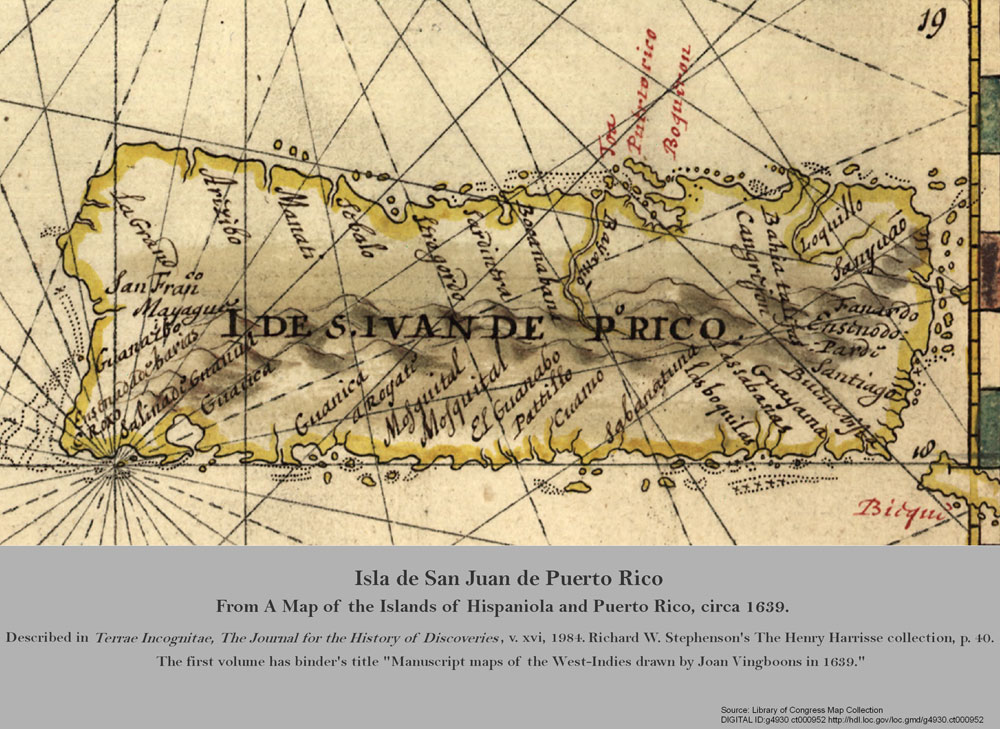 Map of the Islands of Hispaniola and Puerto Rico.