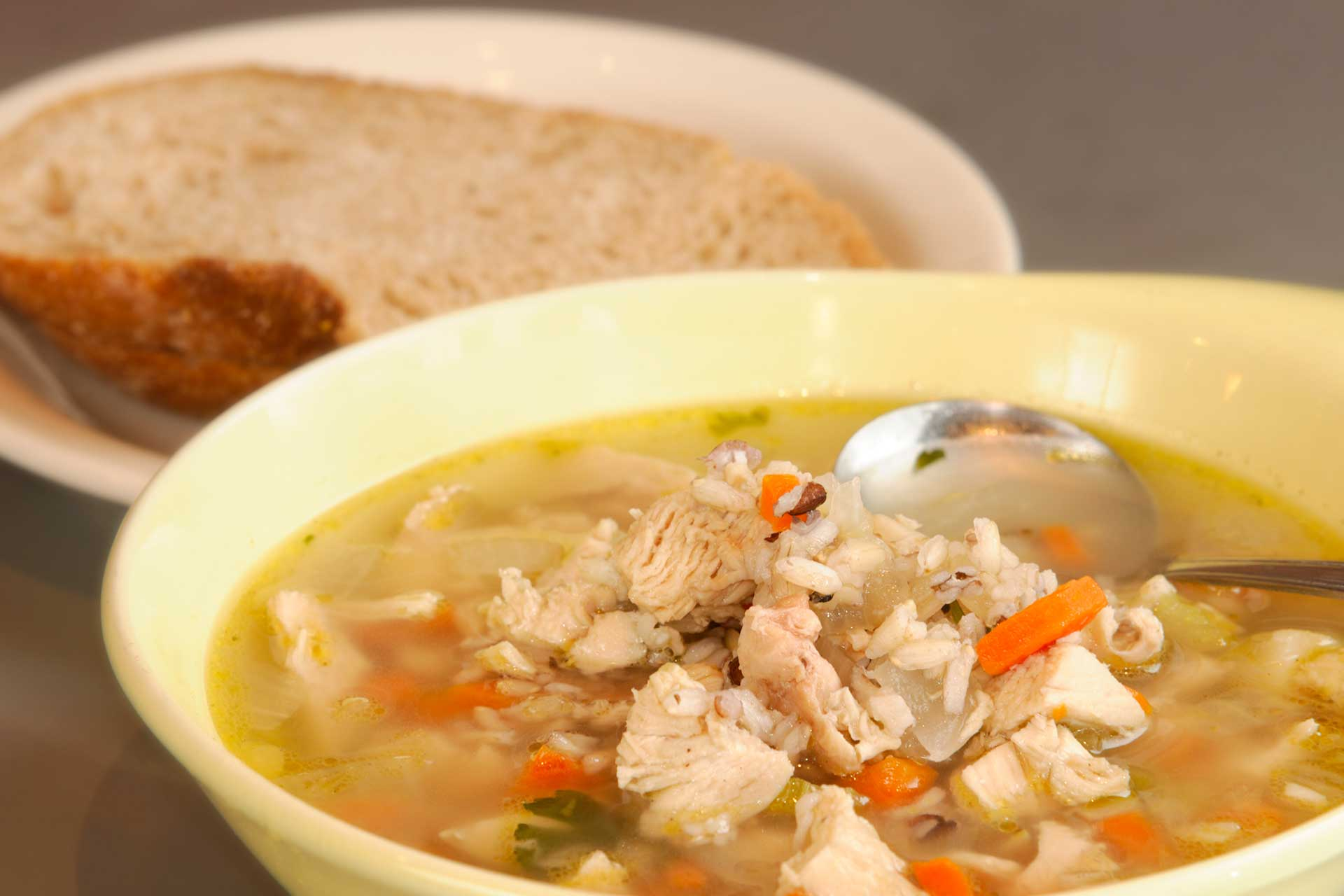 Photo of chicken soup bowl