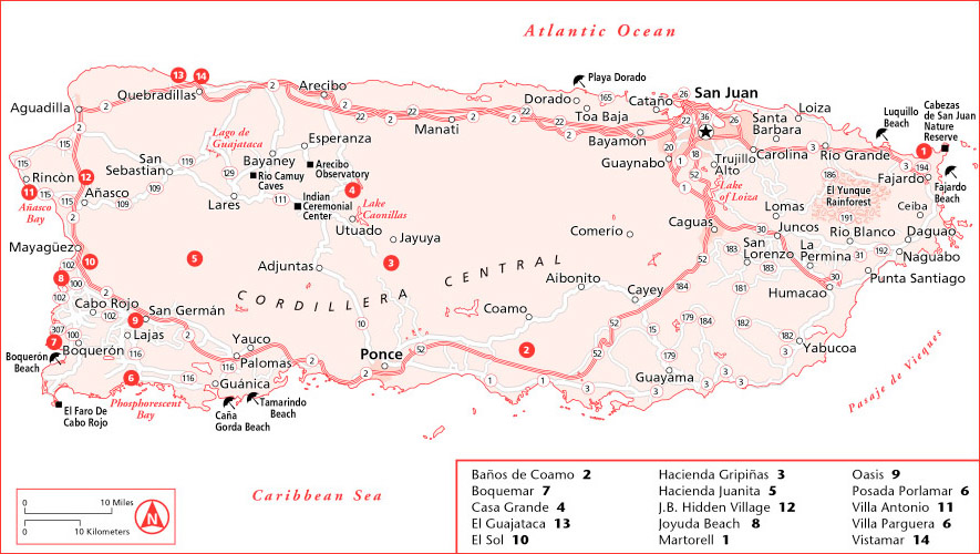 Puerto Rico Tourist and Travel Information – Puerto Rico Tourist Attractions Map